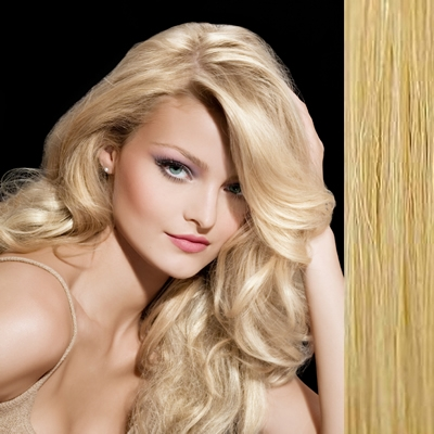 "Clip in hair extensions 18"" (45cm) - straight color 22 light blonde"
