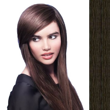 Side Swept Clip In Hair Fringe color #1b jet black