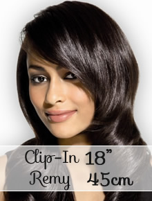 "Clip in REMY hair extensions 18"" (45cm) - straight - Online Store"