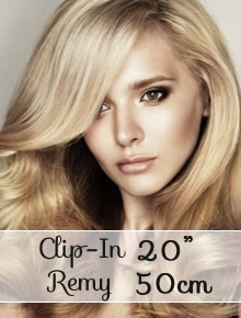 "Clip in REMY hair extensions 20"" (50cm) - straight - Online Store"