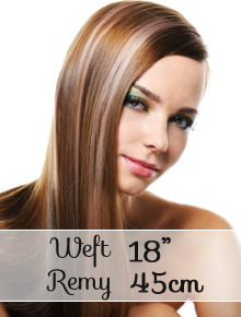 "Weft remy hair extensions 18"" (45cm) - straight - Online Store"