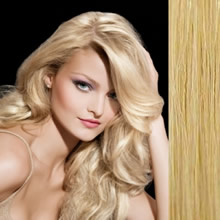 "Clip in Remy hair extensions 20"" (50cm) - straight color 22 light blonde"