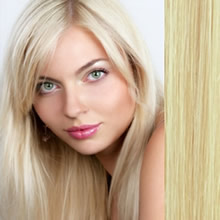 "Clip in Remy hair extensions 20"" (50cm) - straight color 613 blonde"
