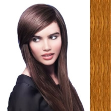 Side Swept Clip In Hair Fringe color #8 light chestnut